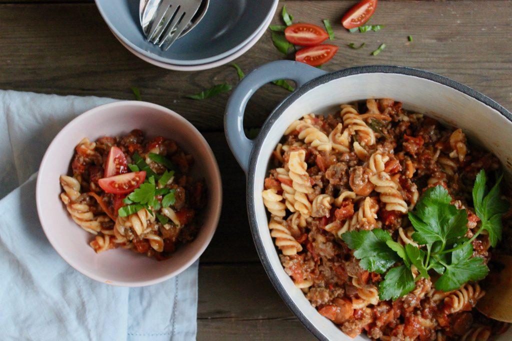 One pot pasta hakket oksekød