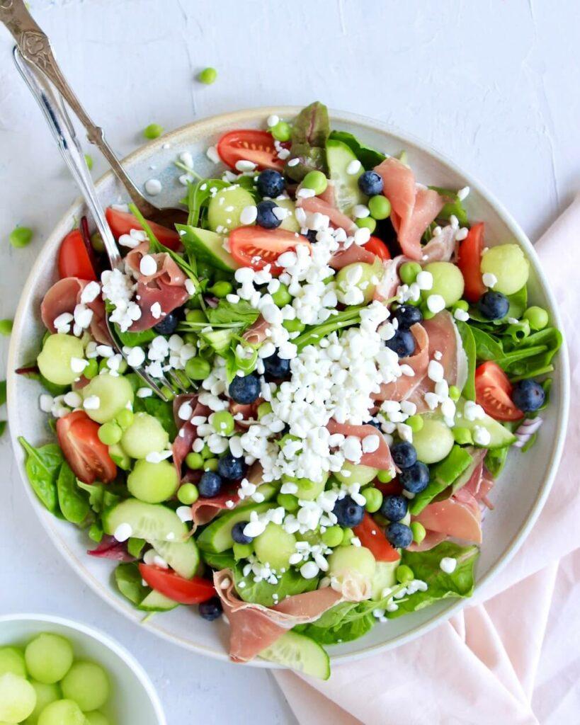 Melon skinke salat
